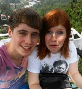 Lewis and a terrified me on the chairlift up to the Great Wall of China.