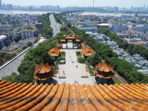 The view from the top of Yellow Crane Tower, Wuhan. One of the best things about teaching English in China is the cultural experience!