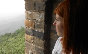 Here I am, looking out onto the scenery surrounding the Great Wall of China.