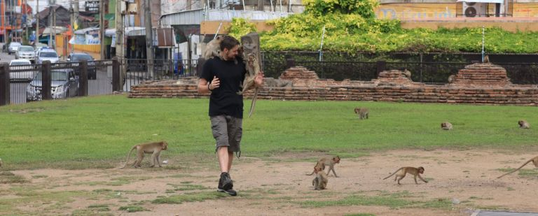 Tim enjoying the mischievous Lopburi monkeys