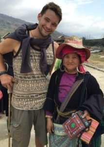Tim with a rather persistent saleswoman in Vietnam. Haggling with her was tough- she drives a hard bargain!