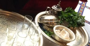 A traditional Moroccan tea tray. Tea makes up a huge part of the Moroccan cuisine and culture.