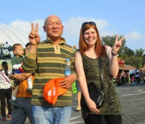 Me with a random Chinese man who wanted his photo taken with me. Chinese sleeper trains are a great place to meet locals.