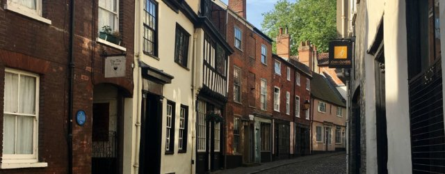 Cobbled streets in Norwich, Norfolk.