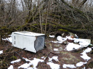 It is not uncommon to see appliances and other artefacts abandoned in the cities of the exclusion zone. It is suspected that much of this is the result of stalkers who have entered the zone illegally.
