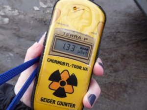 As I stand next to a radiation hotspot, my Geiger counter begins to beep incessantly as the numbers on the screen jump up.