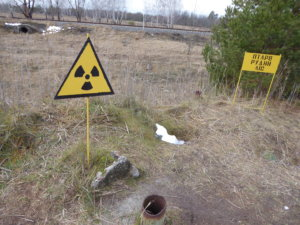 Radiation hotspot signs warn of danger around the Chernobyl exclusion zone.