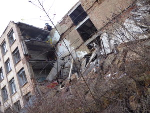 A collapsed building in Pripyat.