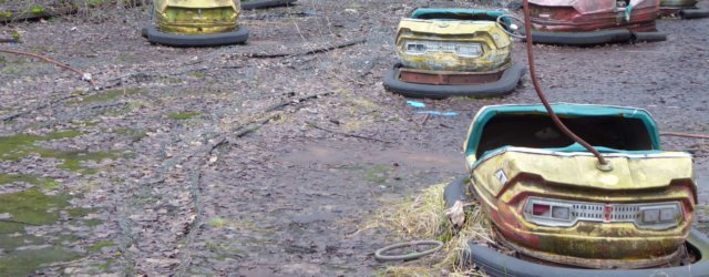Abandoned bumper cars in the Chernobyl exclusion zone.
