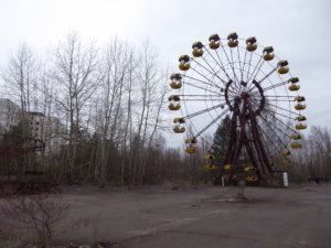 The infamous Ferris wheel at the abandoned Pripyat amusement park.