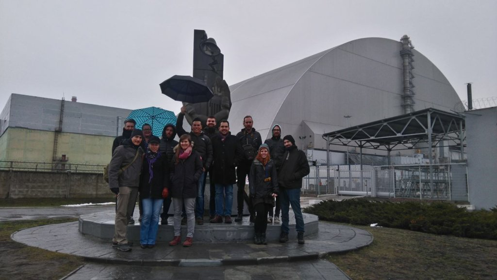Posing in front of the Chernobyl nuclear power station.