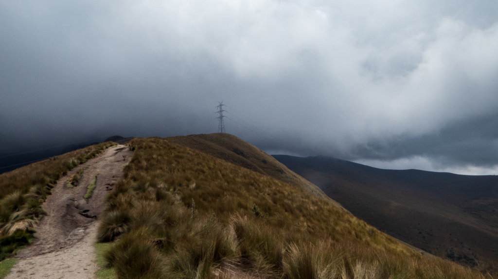 Hiking trail in bad weather