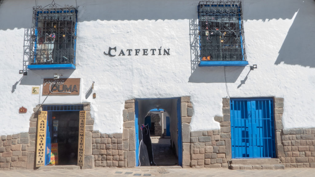 The outside of Cusco's cat cafe!