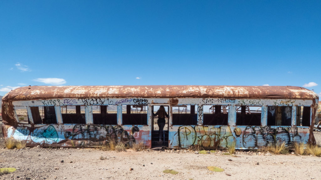 Old train carriage at Bolivia's train graveyard