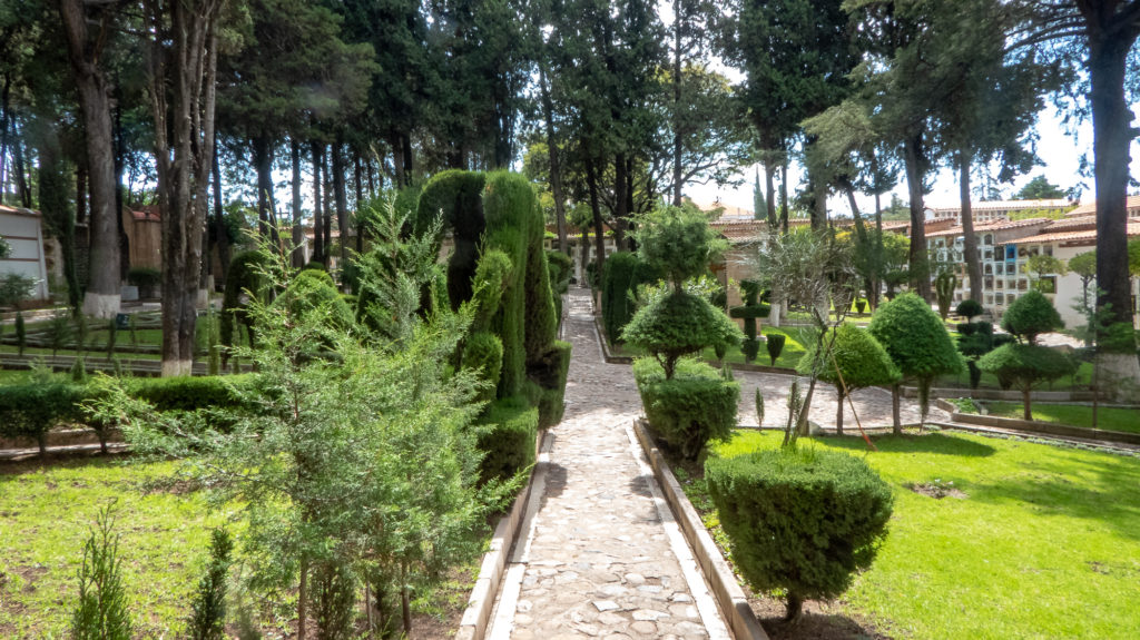 Beautiful gardens at Sucre Cemetery