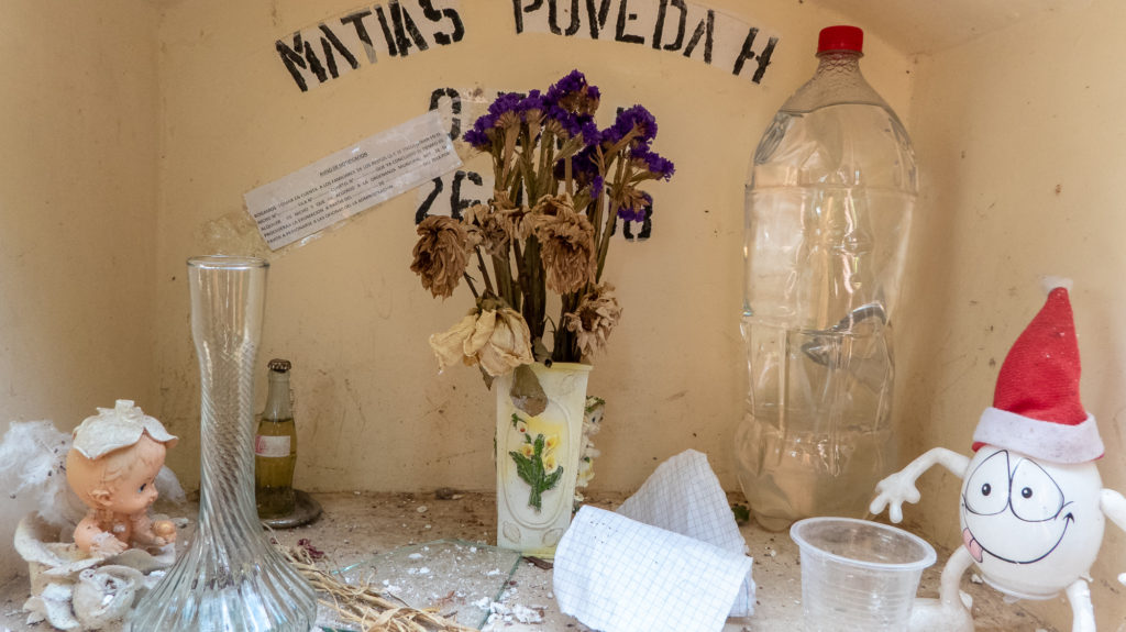 Gifts left inside a niche at Sucre Cemetery