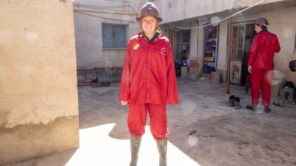 Girl dressed as miner for ethical mine tour