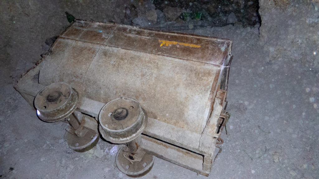 Old mining cart on ethical mine tour