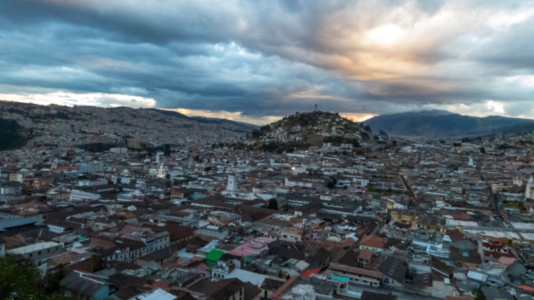 View in Quito at sunset.