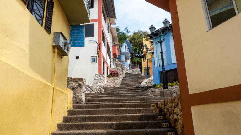 Las Peñas steps going up to lighthouse. Guayaquil.
