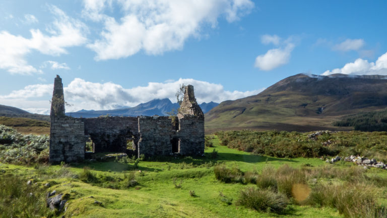 Old ruined building in Scottish highlands.