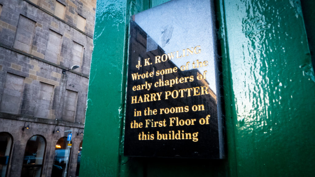 Sign about J.K.Rowling outside Spoon Cafe.