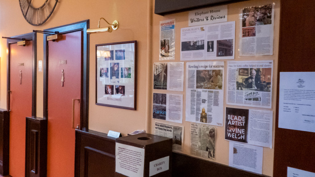 Displays about authors who have visited the Elephant House Cafe.