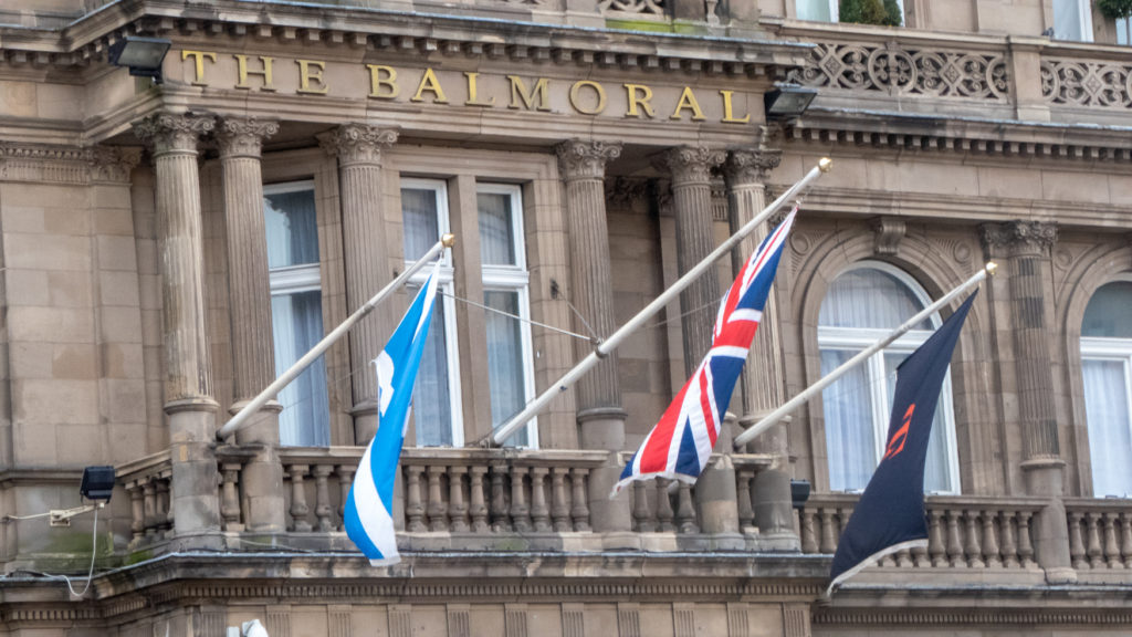 The Balmoral Hotel and flags.