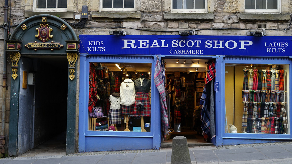 Shop selling tartan products in Scotland