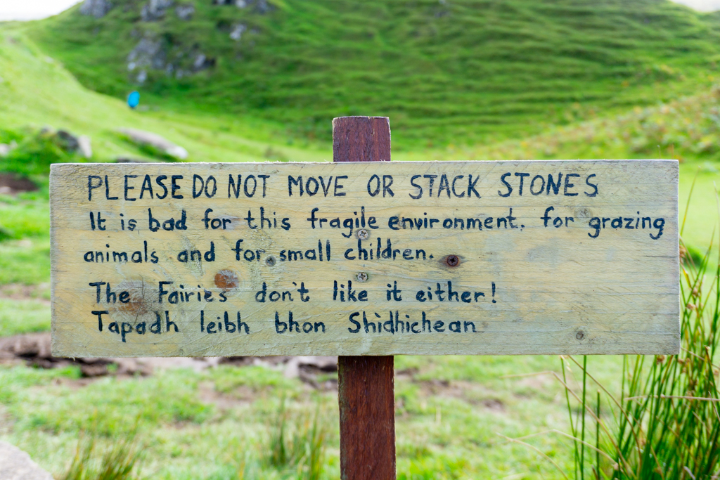 Signs about stone stacking - Fair Glen, Skye