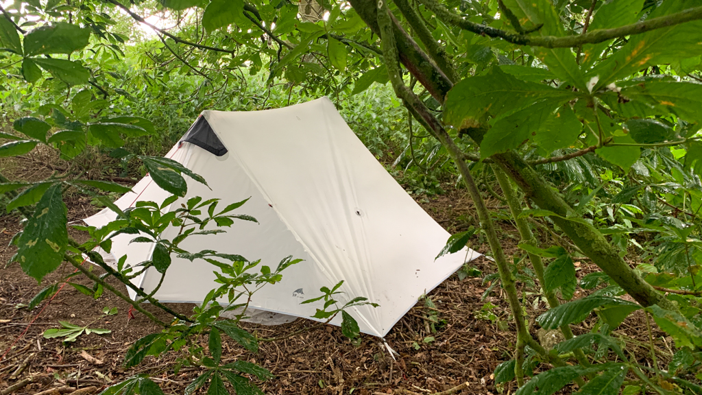 Tent in amongst some bushes