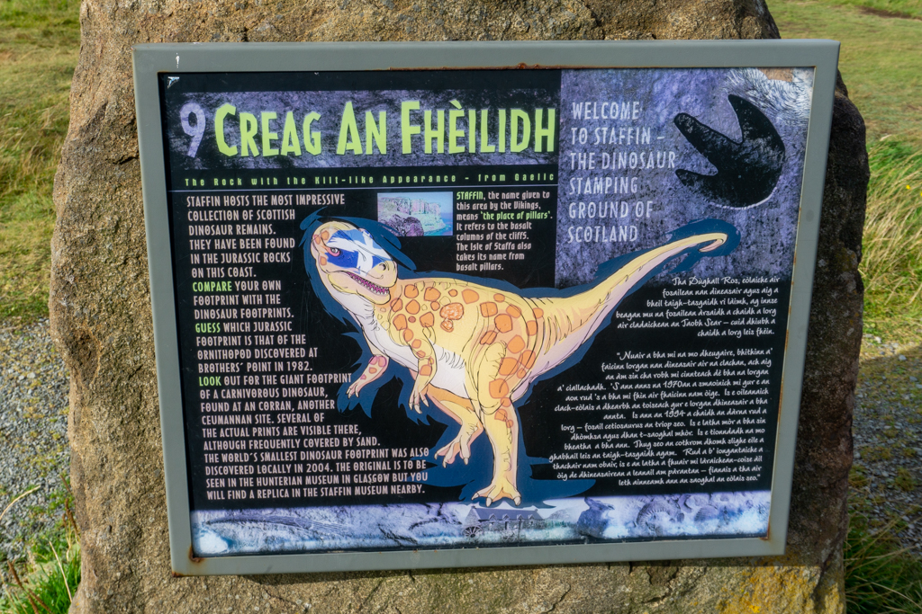 Sign about dinosaur footprints at Staffin