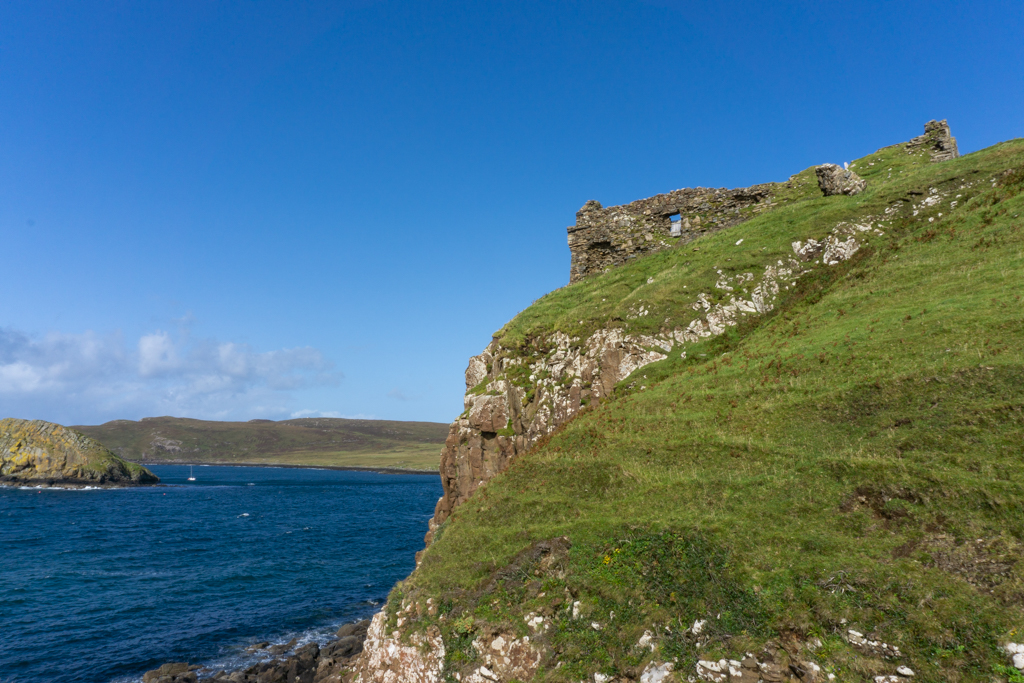 Duntulm Castle on cliff