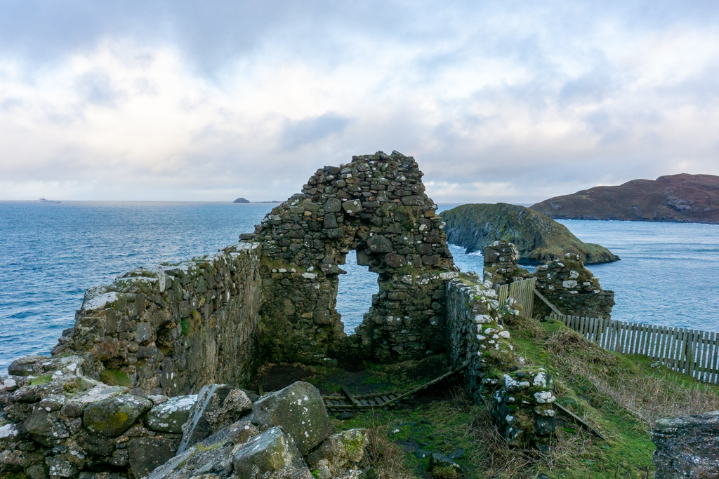 Northern wall of Duntulm Castle, Isle of Skye.